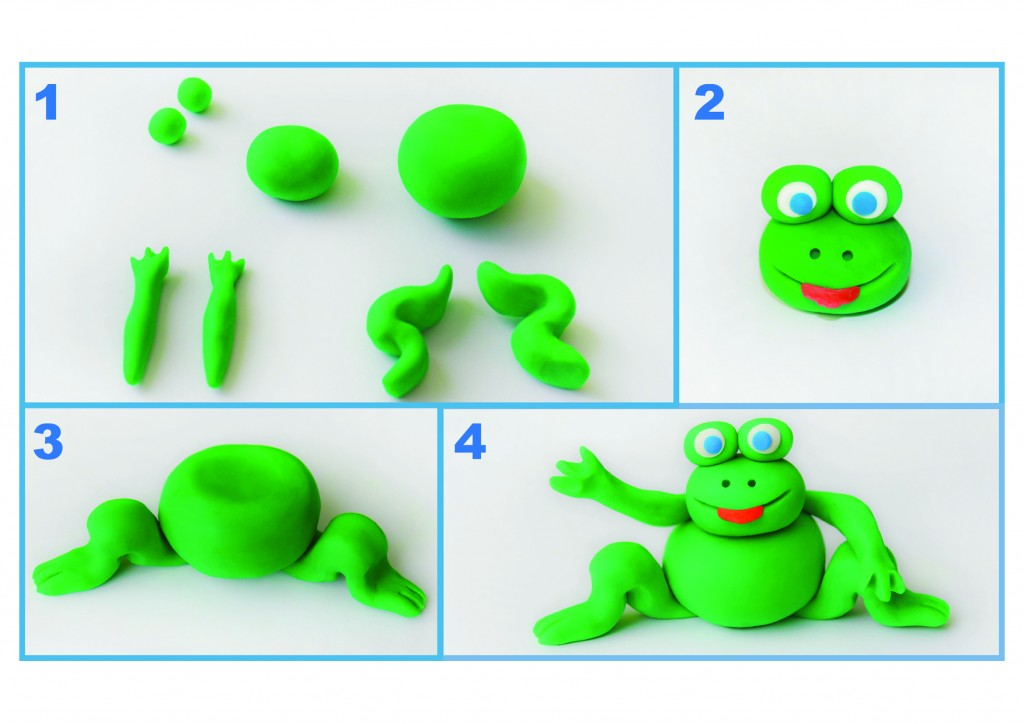 Steps 1-4 of making a Passover froggie.