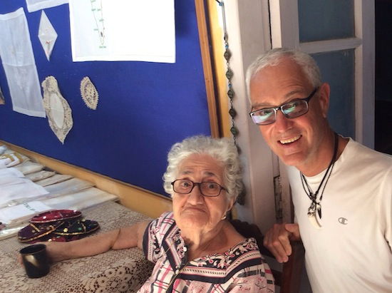 photo - TSteven Finkleman visits Sarah Cohen in her embroidery shop