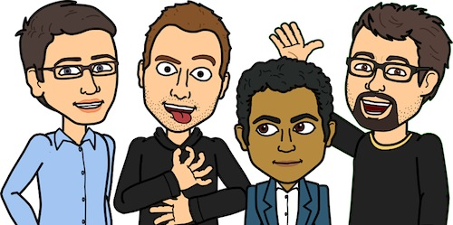 image - Bitstrips' executive team as Bitstrips avatars. BA Blackstock is second from left.