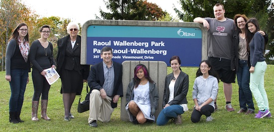photo - Judith Weiszmann and teacher Irv Osterer, third and fourth from the left, with students from Merivale High School's Jewish Culture Club at the Ottawa's Raoul Wallenberg Park