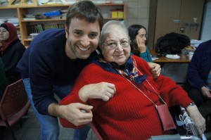 photo - Itamar Hamiel with with Rosa Feldesh, one of Mahapach-Taghir's veteran activists from Florentine, Tel Aviv