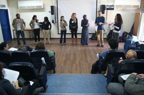 photo - Itamar Hamiel with the coordinators of 7 of Mahapach-Taghir's communities at a national activists' seminar