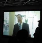 photo - Rabbi Shlomo Riskin speaks to the Vancouver audience via webcast