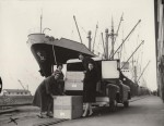 photo - NCJW members unload boxes of toys headed for Israel as part of the Ship a Box to Israel program launched by NCJW Tikvah branch, Vancouver Harbor, 1947