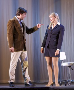 photo - Scott Walters as Emmett and Jocelyn Gauthier as Elle Woods work very well together on stage