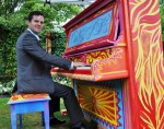 photo - Sean Pacey dabbles at the keys in Burnaby, near the Shadbolt Centre for the Arts