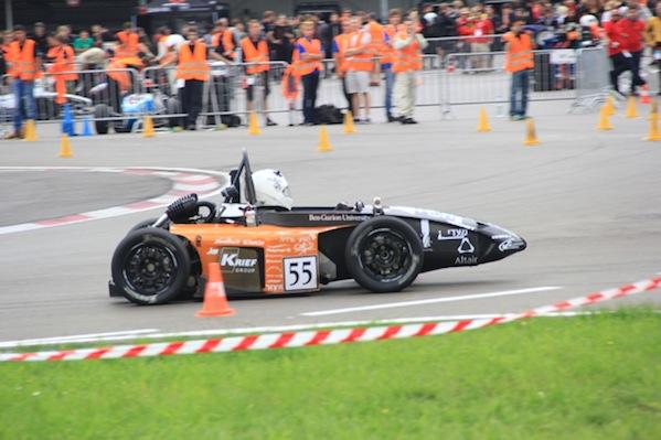 photo - Ben-Gurion Racing's Formula SAE student race car at the autocross run in Austria