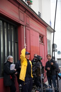 photo - On set with director Israel Horovitz (yellow jacket)