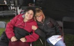 photo - Roberta Grossman (director), left, and Nancy Spielberg (producer) on the Duxford set of Above and Beyond