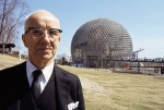 photo - Buckminster Fuller in front of the Montreal World's Fair geodesic dome