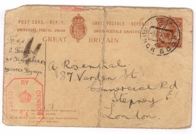 image - Eva and Anne purchased send-and-receive international postal cards. This saved card, sent from Pinsk, shows the censor stamp the British employed after declaring war on Germany