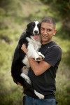 photo - Ofer Biton with a therapy dog