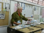 photo - Gerald Lecovin on the production line at Matzrap Army Camp this past October