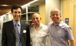 photo - Vancouver Israeli Tech Club Fall Meetup keynote speaker Daniel Friedmann of communications company MDA, left, with presenters Yaron Bazaz, co-founder of the app Downtown and a VIT organizer, centre, and Meir Deutsch of IKOMED