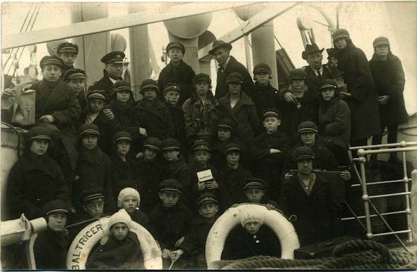 photo - Pinsk's orphaned children on the SS Baltricer, April 1926