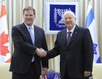 photo - President of Israel during a working meeting with Canadian Foreign Minister John Baird - 18 January 2.