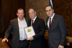 photo - Left to right, Frank Sirlin, president of Jewish National Fund Pacific Region, former ambassador to the United Nations Dan Gillerman and JNF Pacific Region shaliach Ilan Pilo