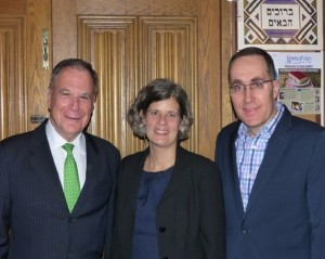 photo - Left to right, former ambassador to the United Nations Dan Gillerman, Mayor of Victoria Lisa Helps and JNF Pacific Region shaliach Ilan Pilo