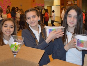 photo - Students Kyla Charach, Lola Belzberg and Juliette Sandler were among the many volunteers