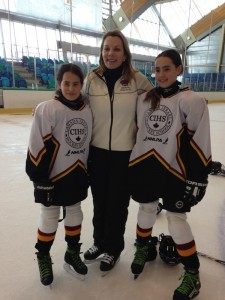 photo - CIHS students with skating coach Barb Adelbaum