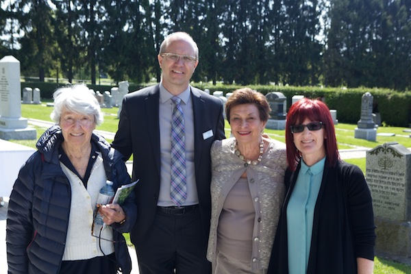 photo - Left to right are landscape architect Cornelia Hahn Oberlander, Mountain View Cemetery manager Glen Hodges, Jewish Cemetery at Mountain View Restoration Project committee chair Shirley Barnett and restoration project administrator Myra Adirim