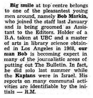 image - description of Bob Markin, JWB, 1970.