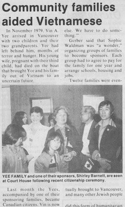 image - Among Shirley Barnett's many community involvements is helping Vietnamese refugees come to Vancouver. This article is from June 1984.