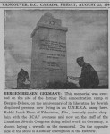 photo - Bergen-Belsen memorial, This photo appeared in the Jewish Western Bulletin, 1946