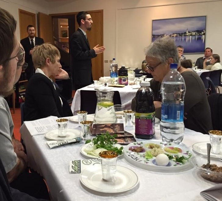 photo - Jewish Icelanders celebrating Pesach with Chabad last month