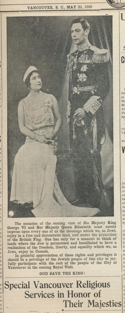 image - scan of the paper The paper routinely stressed the community's loyalty to the Crown, JWB, May 1939. King George VI and Queen Elizabeth are pictured here.