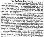 image - Editorial in the Jewish Independent's predecessor, the Jewish Western Bulletin, March 20, 1931.