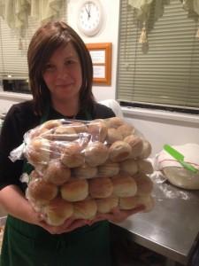 photo - Ella Dreyshner with bags of iKosherbake buns.