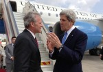 photo - U.S. Secretary of State John Kerry, right, with Michael Oren, then the Israeli ambassador to the United States, at Ben-Gurion International Airport in Tel Aviv on April 9, 2013