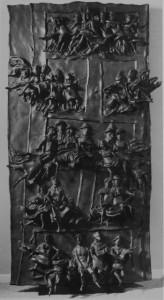 """photo - David Aronson's """"The Door David,"""" 1963-1969, bronze, 94"""" x 50.5"""" x 12.25"""""""