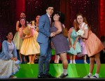 photo - Dustin Freeland as Link Larkin, Erin E. Walker as Tracy Turnblad, Hannah Williams as Penny Pingleton and ensemble members in Hairspray