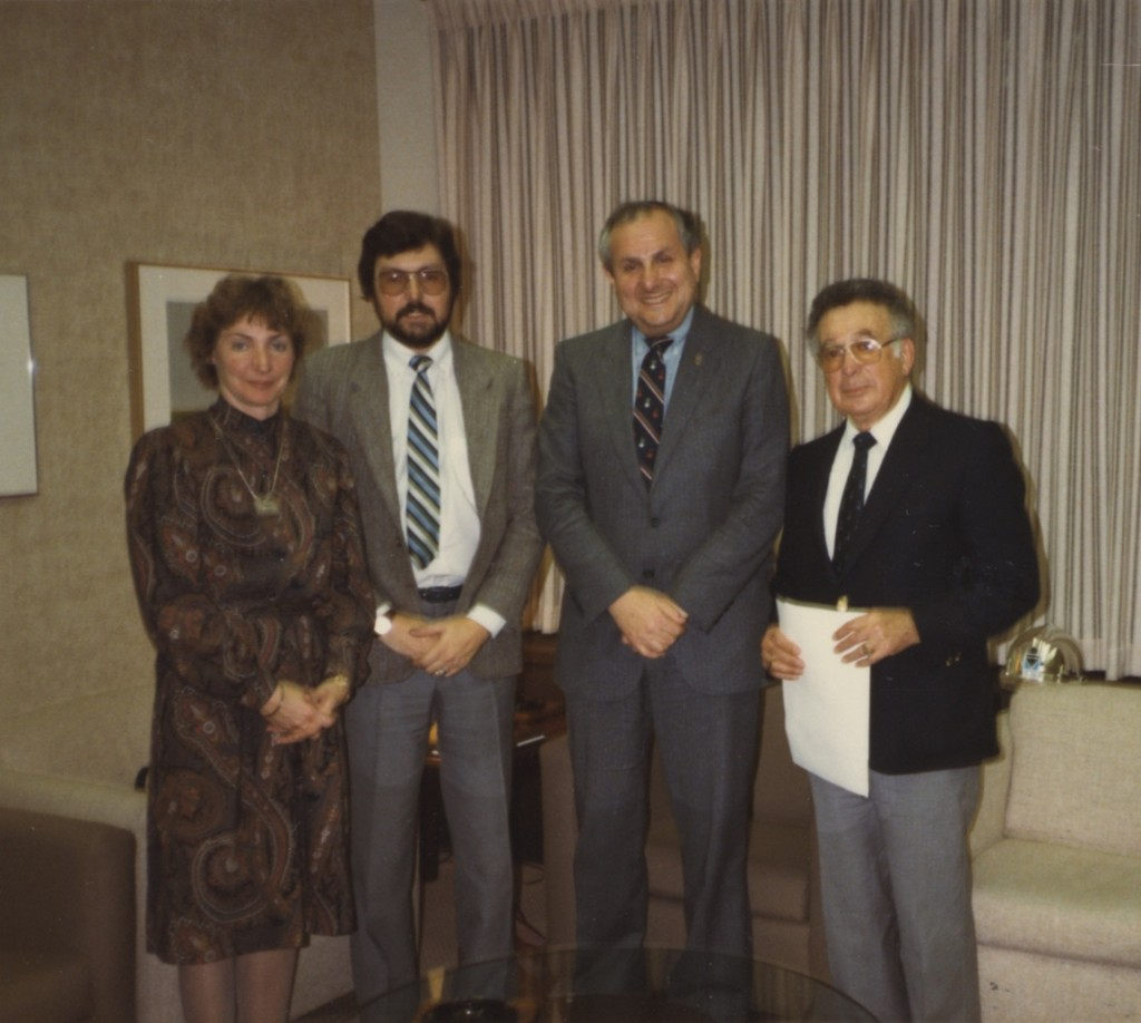 photo - Canadian Jewish Congress receives a grant, 1983. Unidentified people are with Senator Jack Austin (second from the right) and Sidney Zack (far right)