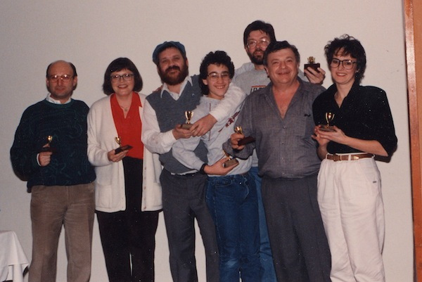 "photo - First annual Temple Sholom Trivia night, ""small trophies,"" 1990"
