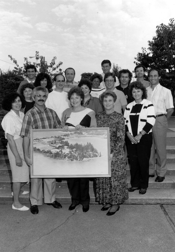 photo - Group with a drawing of Camp Hatikvah, 1988