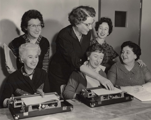 photo - Women using typewriters, National Council of Jewish Women, circa 1955