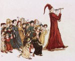 photo - An illustration by Kate Greenaway for Robert Browning's The Pied Piper of Hamelin (Frederick Warne and Co., 1910 [1988]). Akin to the Pied Piper, Old Dodi led the children through the town every Simkhas Torah
