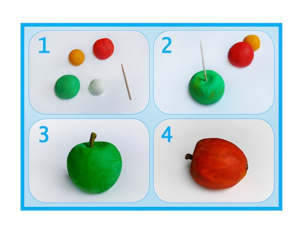 "image - 1. Take a toothpick and a few pieces of modeling clay (or Plasticine) in green, yellow, red and white colors. 2. Mix well a piece of green and a small amount of yellow modeling clay. Make a ball out of this mixture and, using the toothpick, make a hole in the bottom of the ball. 3. Next, you can make a stem for your apple by sticking a small brown piece of clay in the hole that you made. Your apple is ready! 4. Mix well a piece of red modeling clay and a small amount of yellow. Follow the procedure in Step 2 and make a red apple. Don't forget about giving your apple a ""tail"" and a ""nose"" using brown clay. 5. It is time to make some apple slices. Take white modeling clay and mix it with yellow. Shape the mixture into a crescent. Make the skin of an apple from green modeling clay. 6. Combine the crescent shape with the skin and your apple slice is ready. Make a few such slices. 7. We still need to make a pot of honey. For that, we use brown and blue modeling clay. First, make a brown pot, and then add a blue rim to it. Also attach a little handle to the side of your pot. ""Fill"" your pot with honey by putting a little oval made from yellow modeling clay on top. 8. Now we only need to make a dipper. Take brown modeling clay and roll it into a stick shape. It has to be thinner on one end and wider on another, resembling a hammer. To create the illusion of carving, typical for a dipper, encircle the wide part of it with few horizontal stripes made from orange clay. Steps 1-4"