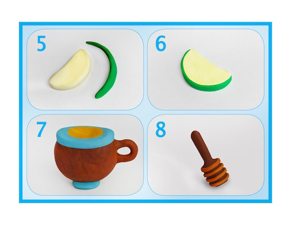 """image - 1. Take a toothpick and a few pieces of modeling clay (or Plasticine) in green, yellow, red and white colors. 2. Mix well a piece of green and a small amount of yellow modeling clay. Make a ball out of this mixture and, using the toothpick, make a hole in the bottom of the ball. 3. Next, you can make a stem for your apple by sticking a small brown piece of clay in the hole that you made. Your apple is ready! 4. Mix well a piece of red modeling clay and a small amount of yellow. Follow the procedure in Step 2 and make a red apple. Don't forget about giving your apple a """"tail"""" and a """"nose"""" using brown clay. 5. It is time to make some apple slices. Take white modeling clay and mix it with yellow. Shape the mixture into a crescent. Make the skin of an apple from green modeling clay. 6. Combine the crescent shape with the skin and your apple slice is ready. Make a few such slices. 7. We still need to make a pot of honey. For that, we use brown and blue modeling clay. First, make a brown pot, and then add a blue rim to it. Also attach a little handle to the side of your pot. """"Fill"""" your pot with honey by putting a little oval made from yellow modeling clay on top. 8. Now we only need to make a dipper. Take brown modeling clay and roll it into a stick shape. It has to be thinner on one end and wider on another, resembling a hammer. To create the illusion of carving, typical for a dipper, encircle the wide part of it with few horizontal stripes made from orange clay. Steps 5-8"""