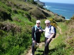 photo - The writer and her husband, Ted Ramsay, hiking along a coastal path near St. Ives. Their excursions took them many places, including this beach near Penzance