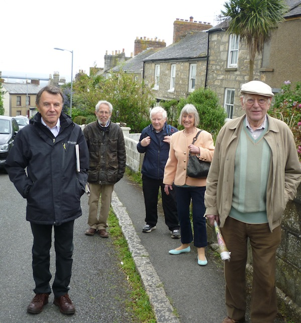 photo - The writer's husband, Ted Ramsay, centre, with Kehillat Kernow members, left to right, Jeremy Jacobson, Harvey Kurzfield, and Patricia and Leslie Lipert