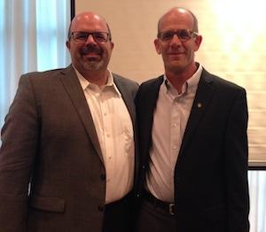 photo - Temple Sholom Rabbi Dan Moskovitz with Dr. Ofer Merin when Merin was in Vancouver in August