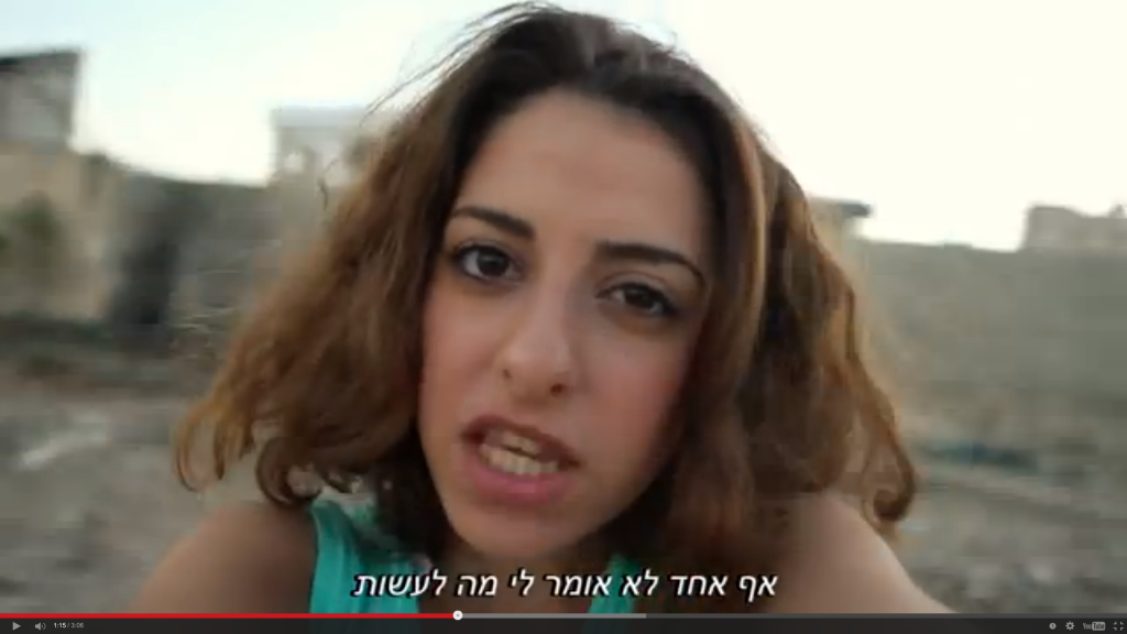 "screenshot - Tara Melter, a German actress of Iranian descent who plays a supporting role in the film, raps the soundtrack's title track, ""Hitchki."""