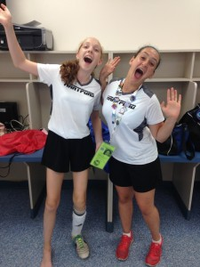 photo - Rachel Bugis, left, and Magalee Blumenkrans celebrate after a big soccer victory