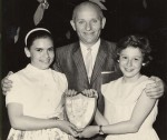photo - Man with two girls holding a plaque, Peretz School, circa 1965