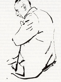 image - Drawing of composer Viktor Ullmann by Petr Kien, graphic artist, Theresienstadt inmate and librettist of The Emperor of Atlantis