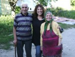 photo - Survivor Mitzvah Project's Zane Buzby, centre, in 2012 with Abramas and Malka Dikhtyar, the last two Jews in Bazaliya, Ukraine, the birthplace of Buzby's grandfather